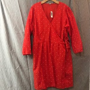 Red Wrap Around Dress with White Daisies
